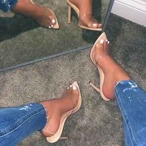 NEW🔥 Peep Toe Transparent Slip-On Mules Sandals